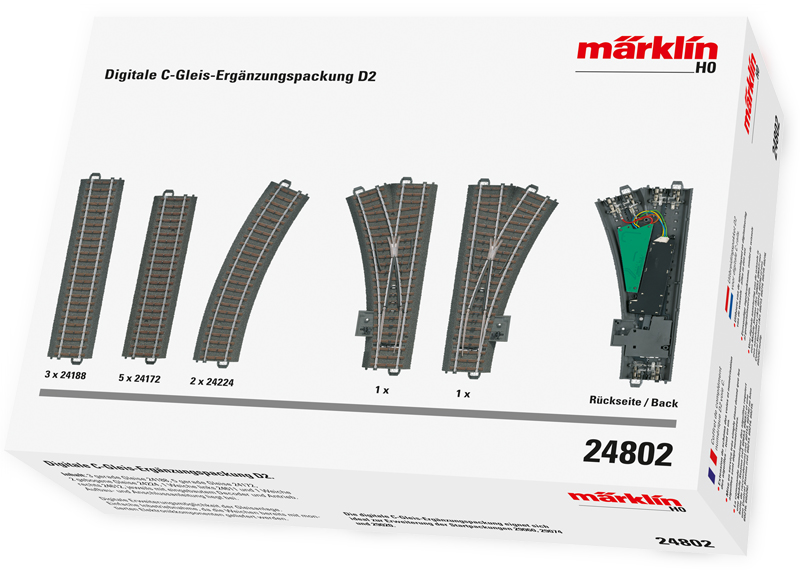 Märklin H0 24802 D2 laajennussarja digitaaliohjatuilla vaihteilla - track expansion set with digitally controlled turn-outs