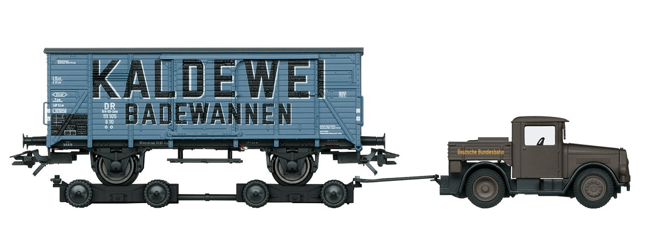 Märklin 48822 G 10 tavaravaunu Culemeyer -vetolaitteella - box car with Culemeyer road roller
