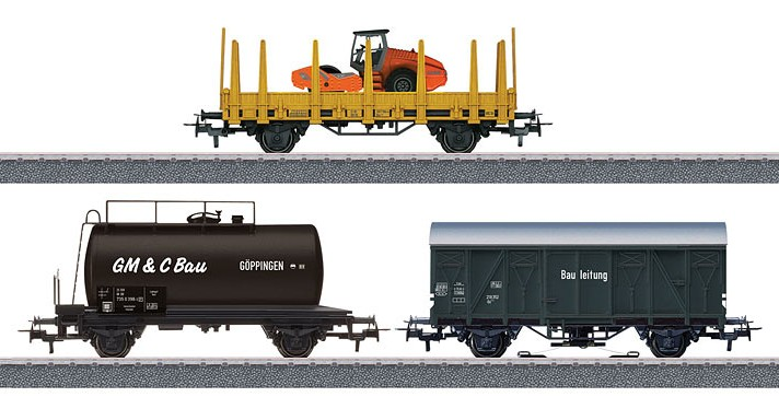 Märklin H0 44083 3-osainen työmaajunan tavaravaunusarja - set of three contruction site freight cars