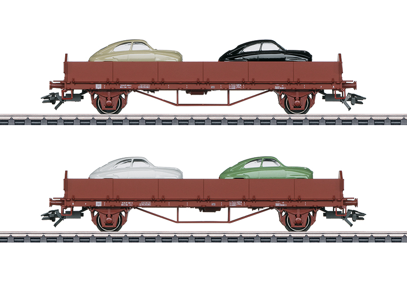 Märklin H0 45084 2-osainen avovaunusarja SAAB-autolastissa - set of 2 flat wagons with SAAB automobiles as cargo