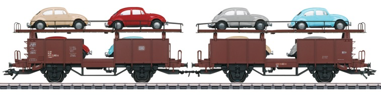 Märklin H0 46137 kaksiosainen autovaunusarja - set of two car transport wagons
