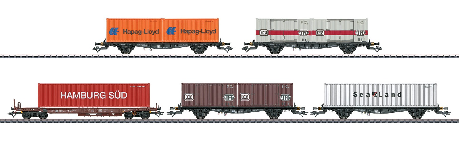 Märklin H0 47689 5-osainen konttivaunusarja - set of five container cars