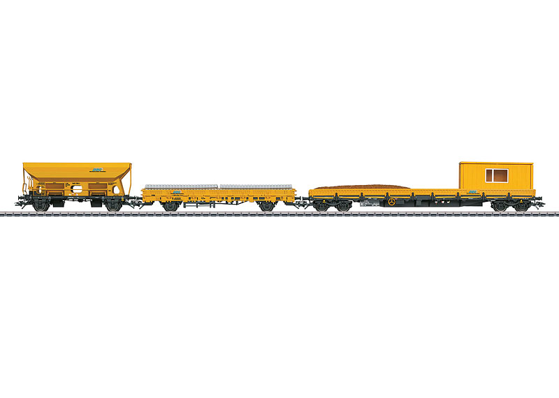 Märklin H0 49968 kolmiosainen huoltojunan vaunusarja - set of three track maintenance train's cars