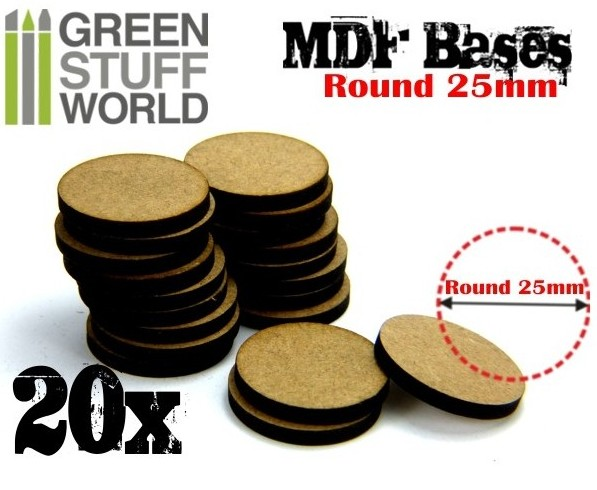 9134 Green Stuff World MDF-pohja 25mm pyöreä - 25mm round base
