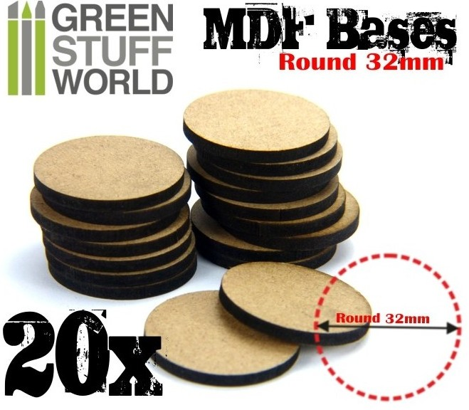 9135 Green Stuff World MDF-pohja 32mm pyöreä - 32mm round base