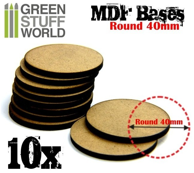 9136 Green Stuff World MDF-pohja 40mm pyöreä - 40mm round base